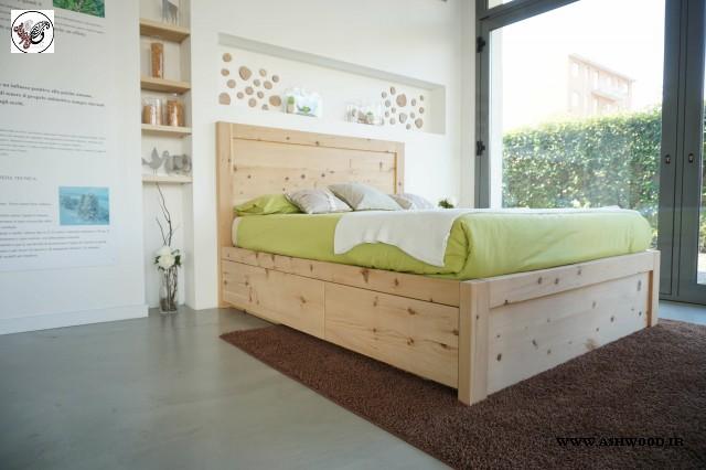 تخت خواب چوب کاج , دکوراسیون اتاق خواب تمام چوب خالص