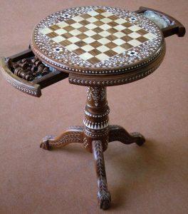 میز شطرنج چوب و عاج