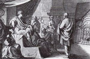 تصویری از ویترویوس در ۱۶۸۴ (راست) که در حال ارائه دادن ده کتاب معماری اثر ویتروویوس به آگوستوس هست.