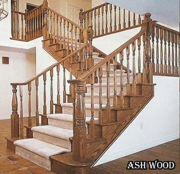 نرده و کف پله چوب بلوط