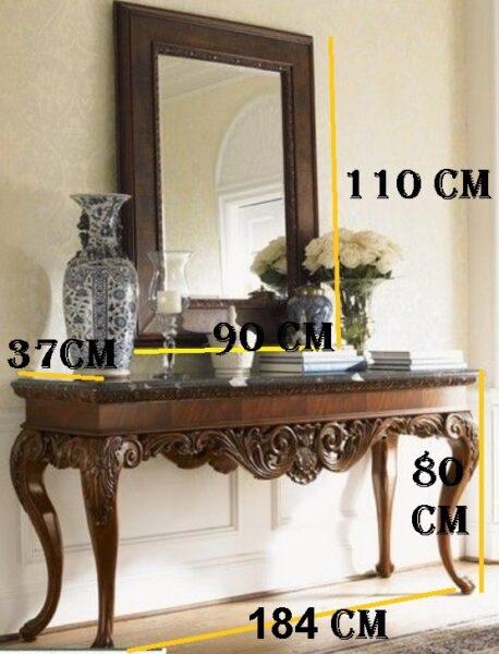 میز کنسول و آینه چوبی