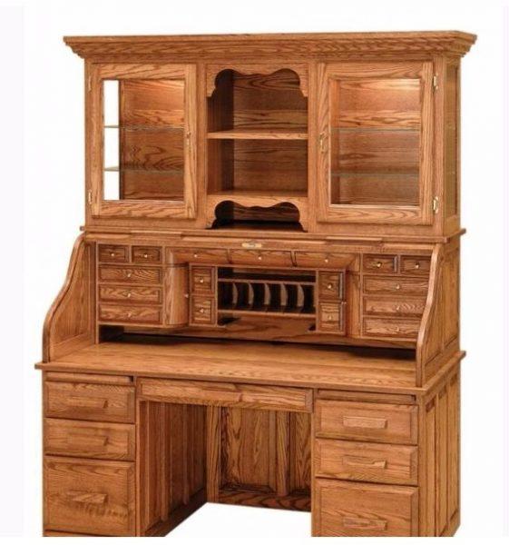 کتابخانه و میز تحریر چوب بلوط