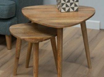میز جلو مبلی , ایده میز کنار مبلی , سه پایه عسلی تمام چوب چنار