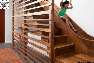 پله چوبی سرسره