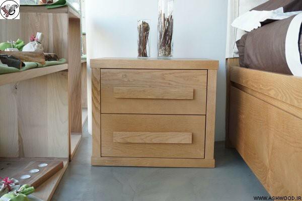 کنار تختی چوب بلوط , میز کنار تختی