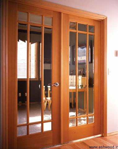 مدل درب چوبی شیشه خور