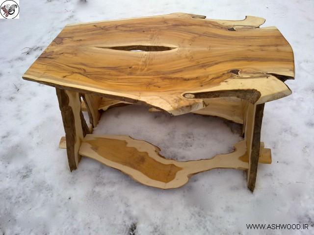 ایده و مدل دکوراسیون چوبی ساخته شده از تنه درختان با لبه طبیعی , محصولات چوبی روستیک
