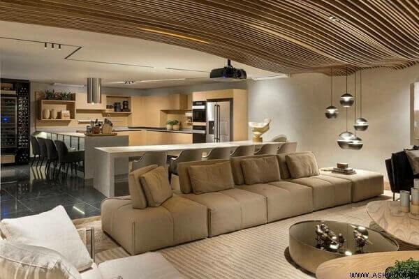 سقف کاذب چوب موجدار