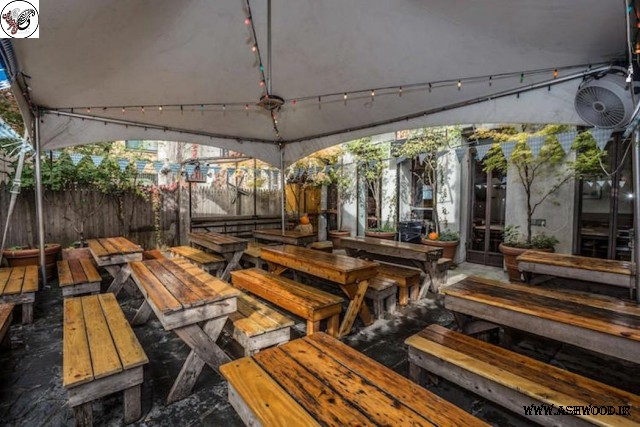 میز و نیمکت چوبی سبک روستیک
