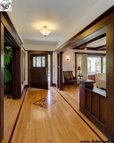 دکوراسیون چوبی منزل , ورودی چهارچوب , کفپوش اتاق نشیمن , میز ناهارخوری چوب خالص