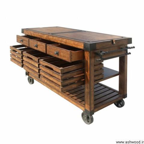 میز بار , دکوراسیون روستیک و ویلایی , دکوراسیون خارجی , ساخت میز بار چوب کاج و ترمووود