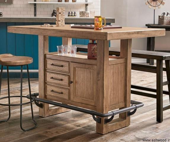 میز بار چوب بلوط و صندلی فوق العاده جالب آن
