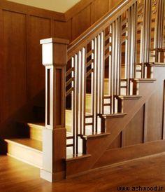 مدل جدید پله چوبی , نرده و کف پله , هندریل چوبی پلکان