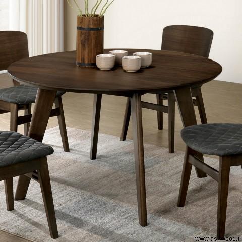مجموعه میز ناهار خوری کم جا گرد ساخته شده از چوب