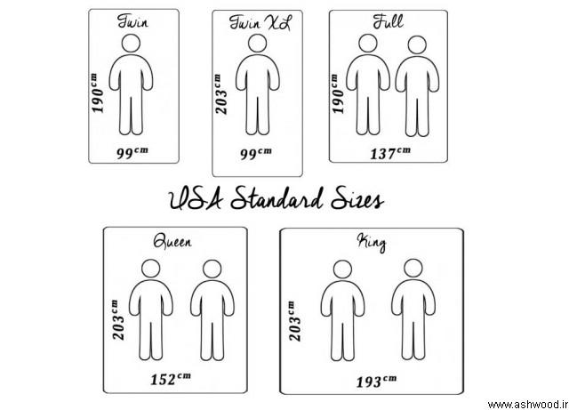 ابعاد استاندارد، ابعاد استاندارد تخت خواب، تخت خواب چوبی،