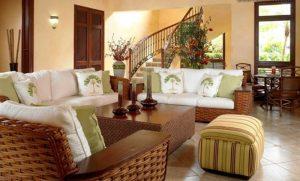 طراحی اتاق نشیمن با مبلمان چوبی