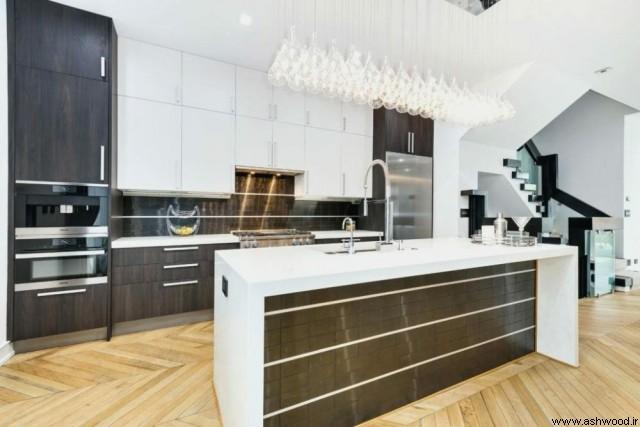 دکوراسیون لوکس آشپزخانه با لوستر