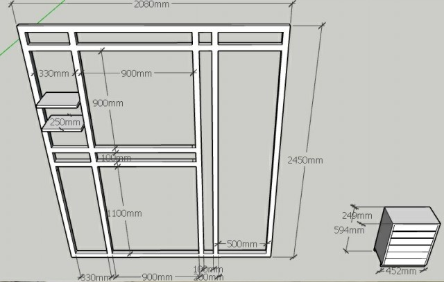نقشه چهارچوب و محل نصب چوب های نگهدارنده شال و روسری