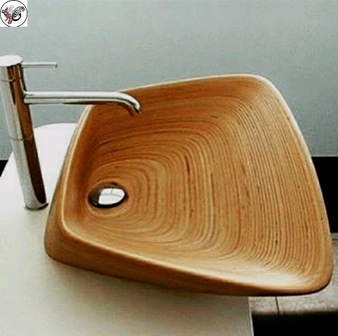 سینک روشویی چوبی