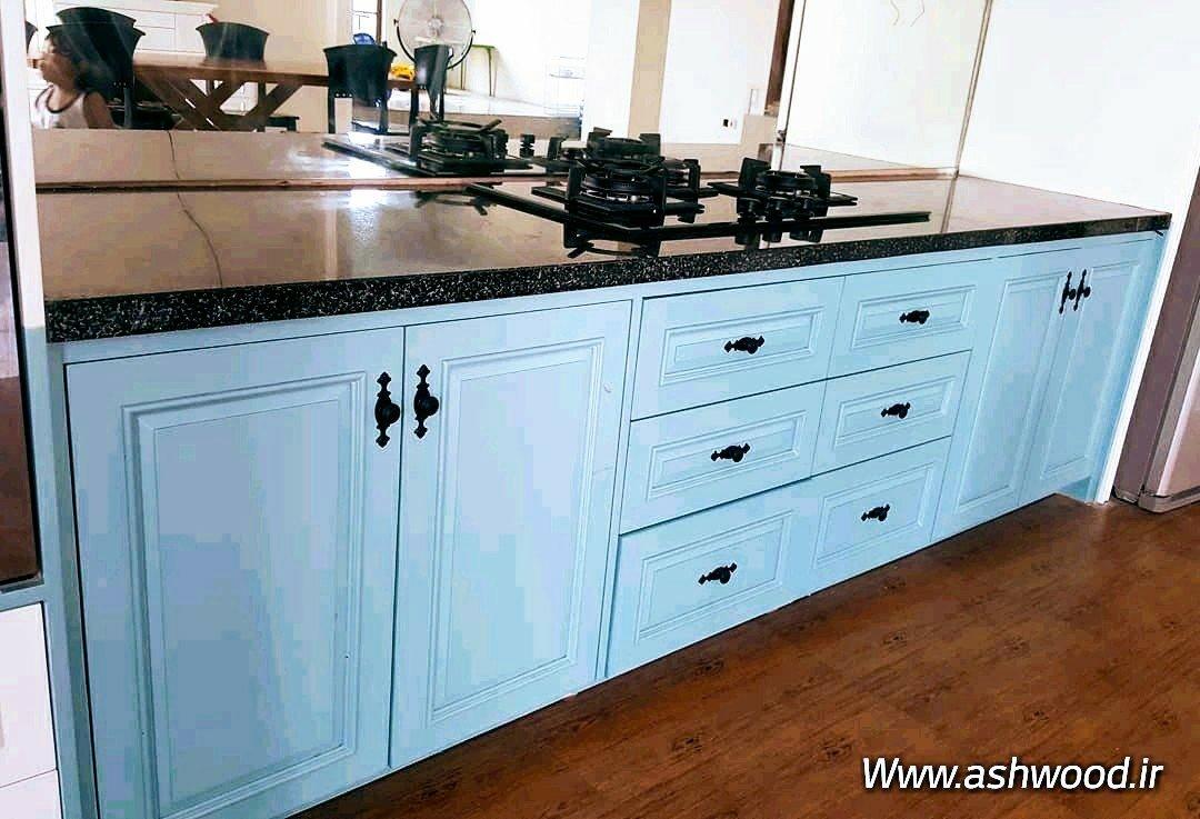 کابینت آشپزخانه تمام چوب رنگی پولیشی سفارشی