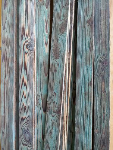 چوب سندبلاست چوب کاج , رنگ سبز روستیک
