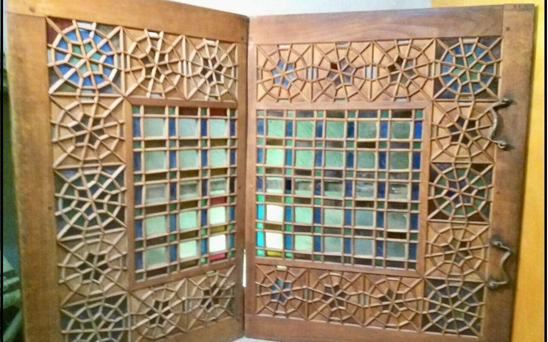 فروش پنجره گره چینی قدیمی ، پنجره دولنگه چوب و شیشه