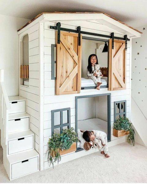 دکوراسیون اتاق کودک , تخت خواب های جالب , ایده برای طراحی تخت خواب اتاق کودک
