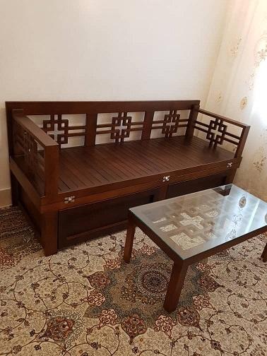 مبلمان تخت خواب شو , کاناپه دو منظوره چوب راش