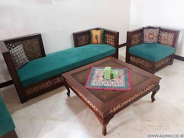 مدل مبلمان سنتی , تخت سنتی تمام چوب