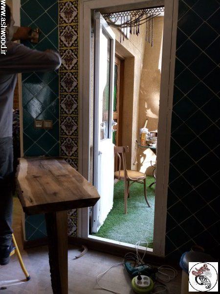 منزل خانم باباش زاده الهیه تهران ، دکوراسیون سنتی ایرانی ، چوب گردو و کاشی فیروزه ای