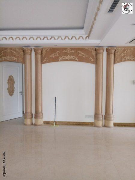 دکوراسیون لوکس منبت کلاسیک چوبی , قاب بندی روی دیوار , اجرای ستون منبت , تاج منبت چوبی دکوراسیون منبت کلاسیک و سبک رومی در منزل