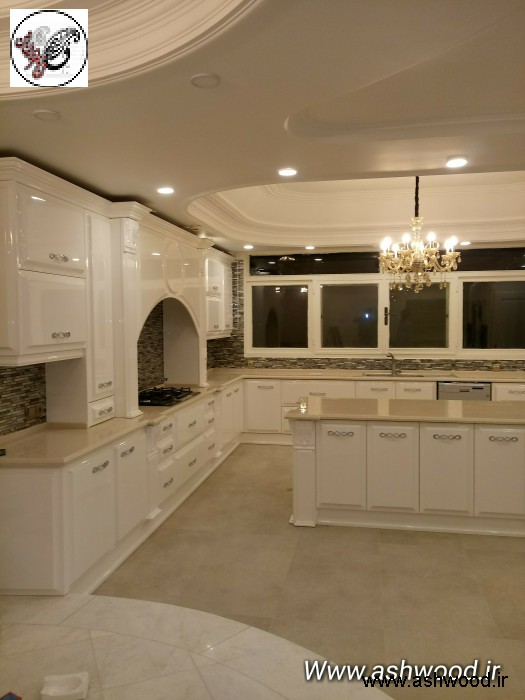 کابینت آشپزخانه تمام چوب رنگ سفید پولیشی سفارشی