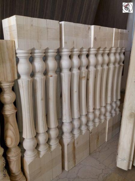نرده چوبی , صراحی , پایه خراطی ستون , نرده و هندریل