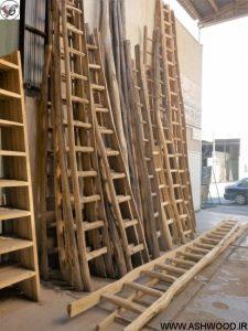 نردبان چوبی , نردبان ساخته شده از چوب کاج روسی , نردبان چوبی بلند