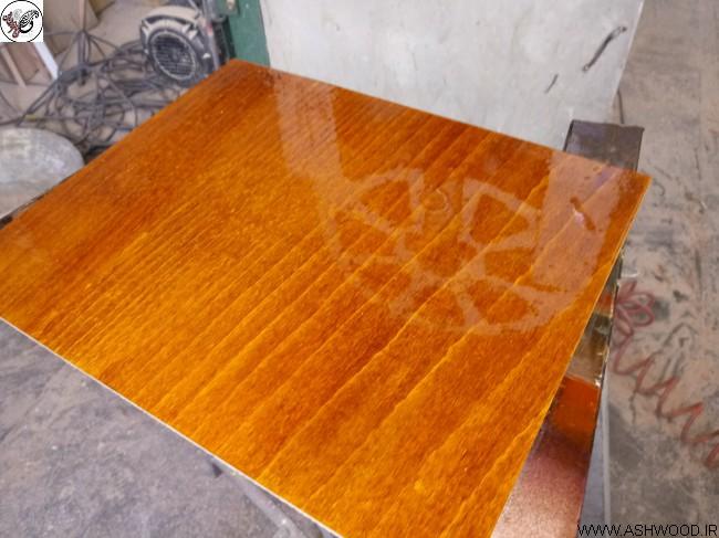 نمونه رنگ عسلی , نارنجی بر روی چوب راش
