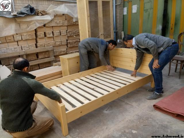 ساخت سرویس اتاق خواب چوب کاج روسیه , تخت خواب چوب کاج