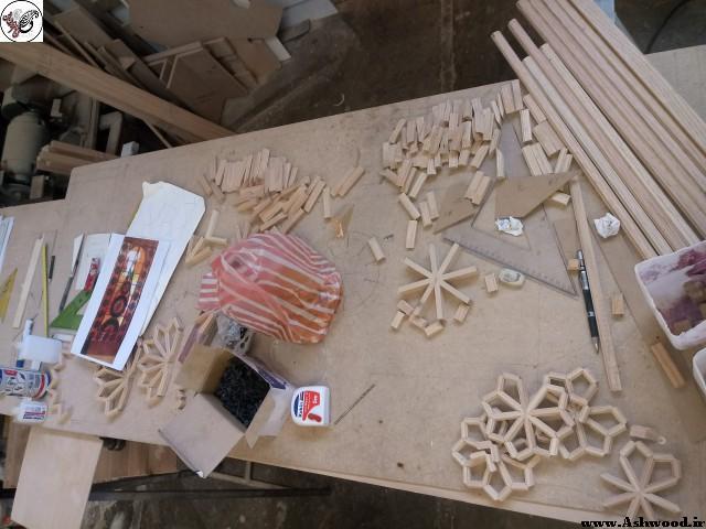قاب سفارشی گره چینی , تابلو گره چینی چوب شیشه رنگی , هنر سنتی ایران زمین
