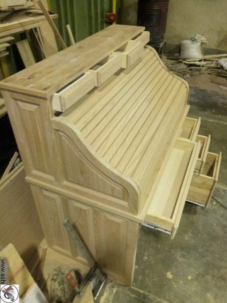 میز تحریر رول تاپ چوب بلوط امریکایی
