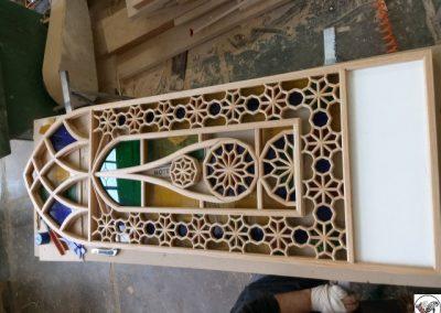 درب و پنجره گره چینی چوب بلوط با شیشه رنگی