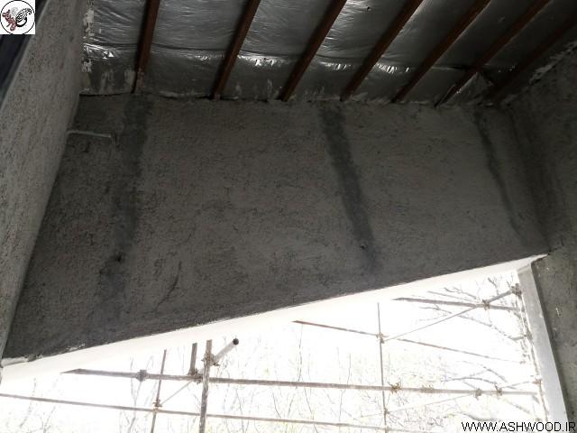 سقف تراس قبل از لمبه کوبی و نصب چوب های ترمووود