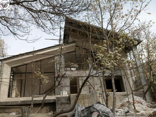 عکس از نمای ویلا , دیواره ها چوب ترمووود و سقف لمبه کاج روسی