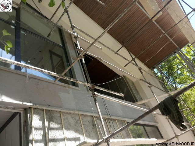 اجرای نمای ترمووود و لمبه کاج روسی , چوب ترمووود , لمبه کاری سقف