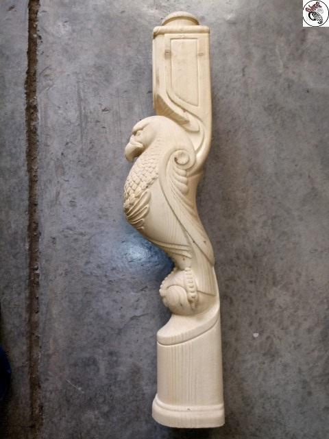 نرده چوبی مجسمه چوبی , نرده مجسمه عقاب چوبی , ایستگاه نرده مجسمه عقاب, پایه نرده مدل چهار تراش
