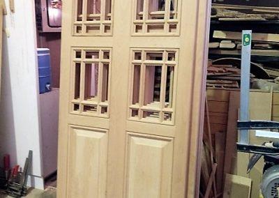 درب و پنجره سبک سنتی , درب گره چینی , درب چوبی مشبک از چوب راش آلمان