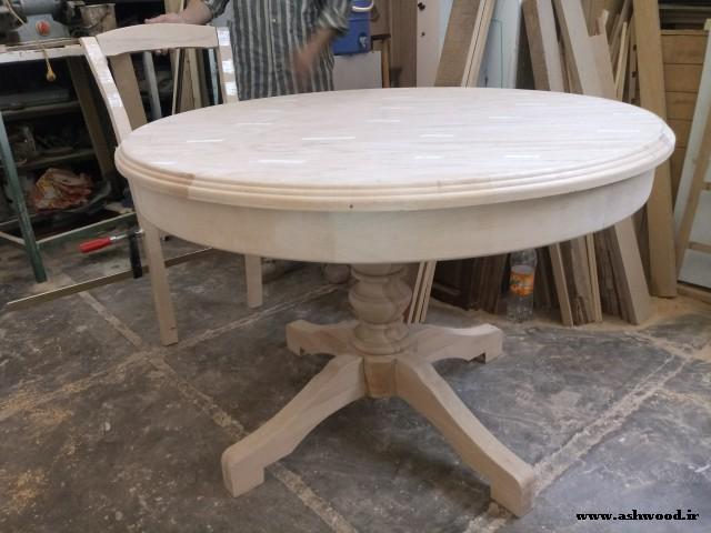 ساخت میز گرد چوب بلوط