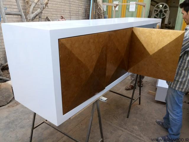 ساخت میز کنسول چوبی , رنگ طلایی پتینه کاری شده