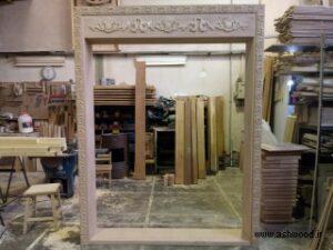 ساخت درب و چهار چوب تمام چوب راش و منبت کاری شده