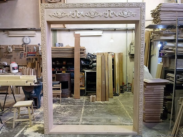 ساخت چهارچوب درب چوبی چوب راش سبک کلاسیک با منبت چوب راش