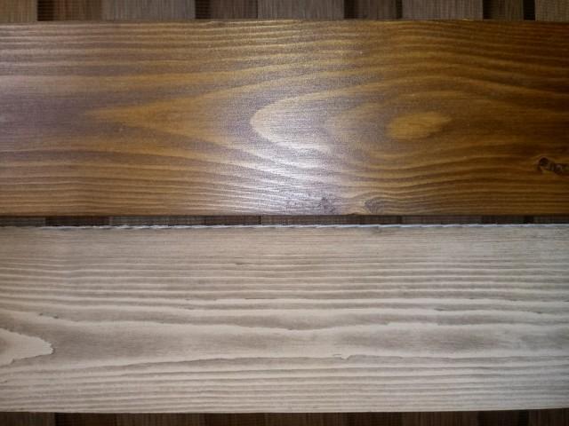 نمونه رنگ وایت واش و رنگ گردویی بر روی چوب کاج روسی
