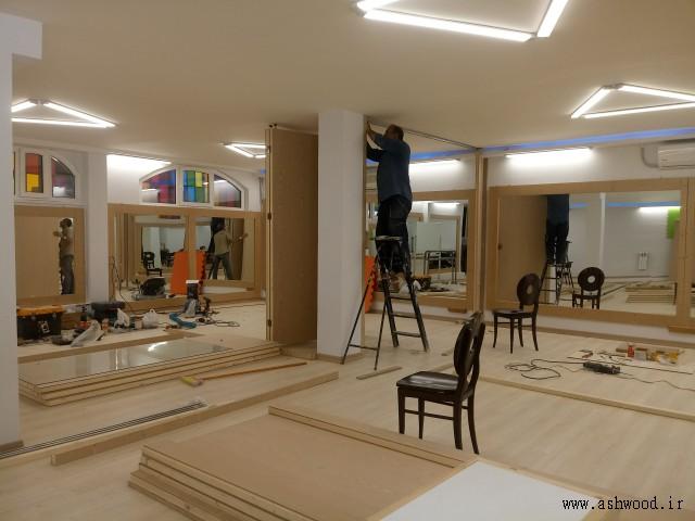 دکوراسیون چوبی عکس از پروژه درب های ریلی تاشو پارتیشن چوب ملچ , قاب آینه